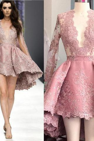 Deep V Neck Homecoming Dresses,Lace Homecoming Dresses,Long Sleeves Homecoming Dresses,Sexy Homecoming Dresses,Princess Homecoming Dresses,Sweet 16 Dresses
