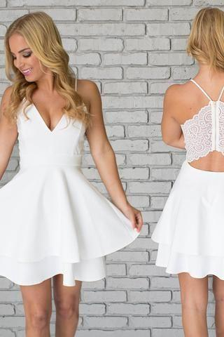White Homecoming Dresses,Spaghetti Straps Homecoming Dresses,Short Mini Homecoming Dresses,Cocktail Dresses,Graduation Dresses,White Prom Dress,V neck Homecoming Dresses
