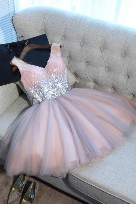 2017 Homecoming Dress, Sexy Homecoming Dresses,A-line Homecoming Dress,Short Prom Dress,Pink Party Dresses,Tulle Homecoming Dress,Sequined Prom Dress