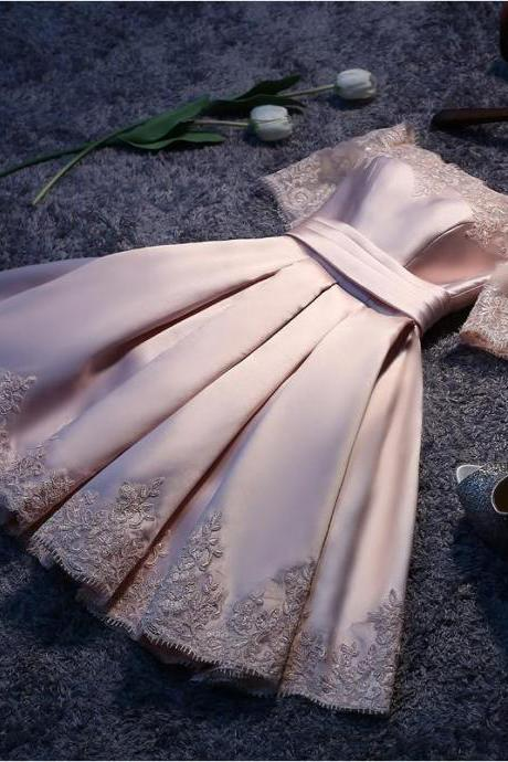 2017 Homecoming Dresses,Elegant Homecoming Dresses,A-line Prom Dresses,Short Prom Dress,Lace Party Dress,Pink Homecoming Dresses,Short Sleeves Prom Dress