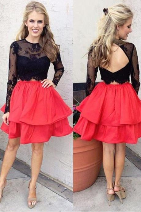 Fashion Homecoming Dress,A-Line Homecoming Dress,Jewel Prom Dresses,Long Sleeves Homecoming Dresses,Open Back Prom Dress,Short Homecoming Dress,Lace Homecoming Dress,Red Homecoming Dresses