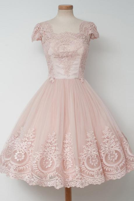 Vintage Homecoming Dresses,Knee-Length Homecoming Dress,A-line Homecoming Dresses,Pearl Pink Homecoming Dress,Lace Homecoming Dresses