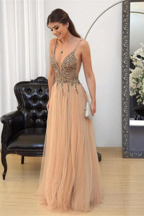 Sexy Prom Dresses,Sleeveless Prom Dress,Beading Prom Gown,Crystal Evening Dress,Long Prom Dresses,Formal Party Gown