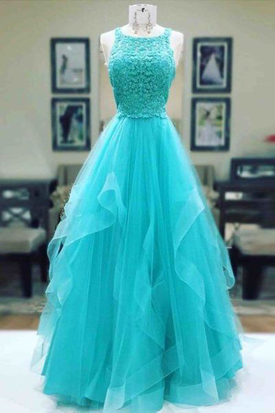 Elegant Prom Dress,Charming Prom Dresses,Sleeveless Evening Dress,Blue Homecoming Dress,Tulle Prom Gown,Lace Prom Dresses,Long Evening Dresses