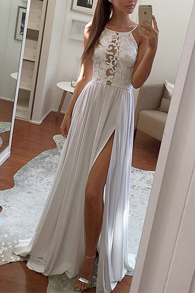 Simple Prom Dresses,Grey Prom Dresses,Chiffon Prom Dress, Long Prom Dresses,Lace Prom Dress,Slit Prom Dress,See Through Evening Dress