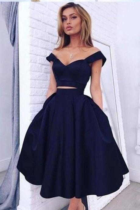 Chic Homecoming Dresses,Off the Shoulder Prom Dress,Navy Porm Dresses,Satin Homecoming Dress,Elegant Homecoming Dresses,Short Evening Dresses