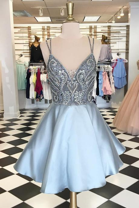 Spaghetti Straps Homecoming Dress,Short Homecoming Dress,A Line Prom Dresses,Silver Homecoming Dress,Backless Homecoming Dresses,Sexy Homecoming Dresses,Beaded Homecoming Dress,Beading Prom Dresses