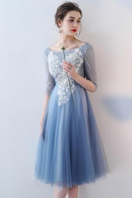 A-Line Homecoming Dresses,V-Neck Homecoming Dress,Knee-Length Prom Dresses,Tulle Homecoming Dress,Blue Homecoming Dress,Appliques Prom Dresses