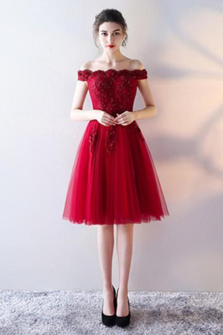 Red Homecoming Dresses,Sleeveless Prom Dress,Lace Homecoming Dress,Fashion Homecoming Dress,Appliques Prom Dresses,Red Prom Dress,Off the Shoulder Prom Dresses