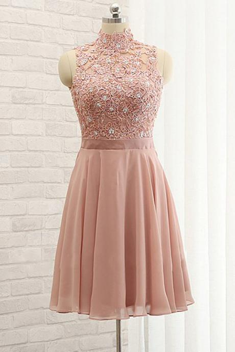 Stylish Homecoming Dresses,A-Line Homecoming Dress,High Neck Prom Dresses,Sleeveless Homecoming Dress,Open Back Prom Gown,Short Homecoming Dress With Lace,Blush Pink Homecoming Dresses
