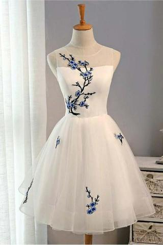 Cheap Homecoming Dress,A-Line Homecoming Dress,Short Prom Dresses,White Homecoming Dresses,Tulle Prom Dress,Sleeveless Prom Dresses,Summer Prom Dresses,Prom Dresses for Girls