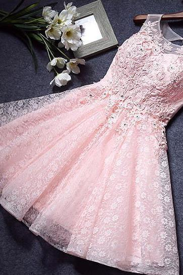Pink Homecoming Dresses,Lace Homecoming Dress,A Line Homecoming Dresses,Short Homecoming Dress,Appliqued Homecoming Dresses,Graduation Dresses