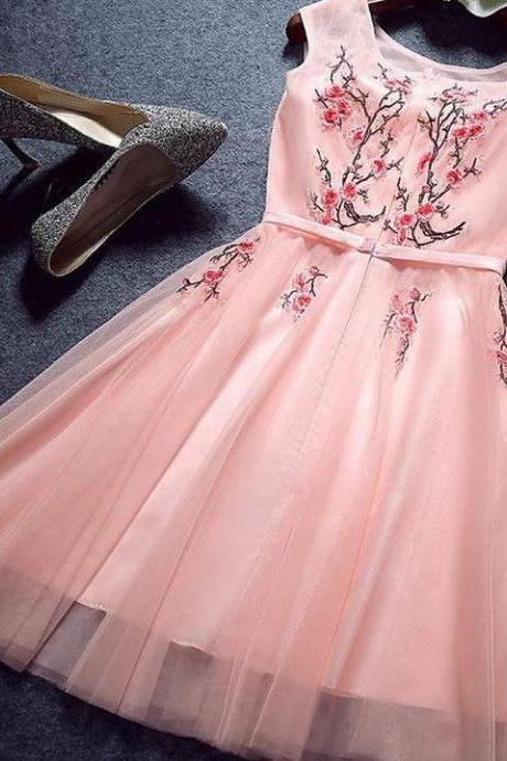 Pink Homecoming Dresses,Appliques Homecoming Dress,A Line Homecoming Dresses,Short Prom Dress,Tulle Homecoming Dresses,Prom Dresses For Girls