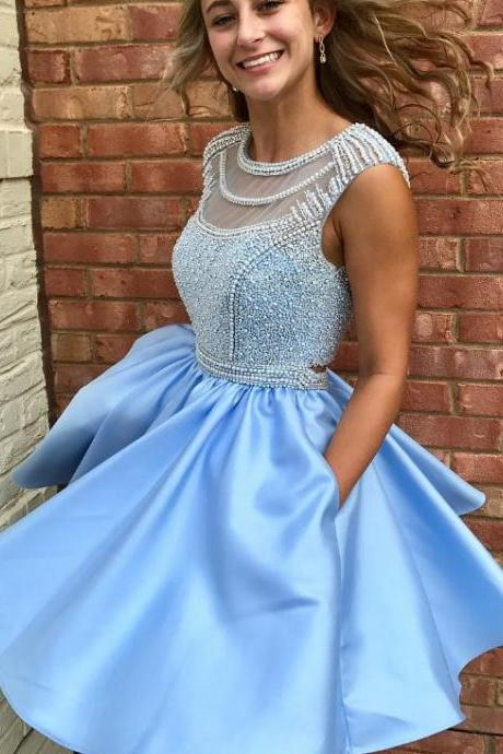 Cute Prom Dresses,Sparkly Prom Dress,Beads Homecoming Dresses,Blue Homecoming Dresses,Short Homecoming Dress,Homecoming Dresses with Pockets