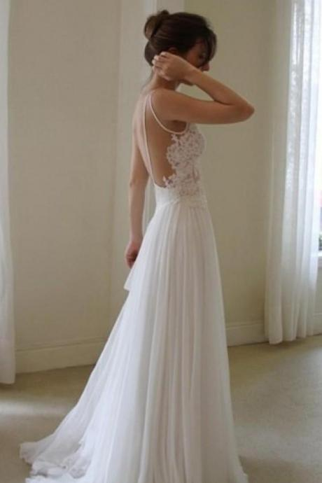 White Wedding Dresses,Simple Wedding Dress,Lace Bridal Gown, Sexy Wdding Gown,Backless Wedding Dress,Cheap Wedding Dresses