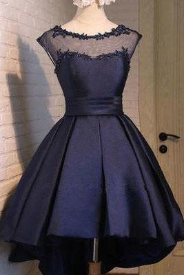 Classy Prom Dresses,Navy Blue Homecoming Dress,Satin Homecoming Dress,Sexy Party Dress,Charming Homecoming Dress,Graduation Dress