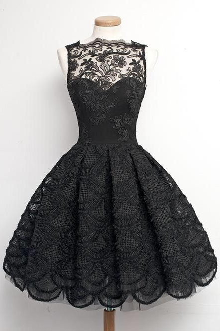A-Line Homecoming Dresses,Scalloped-Edge Prom Dresses,Sleeveless Homecoming Dress,Vintage Homecoming Dresses,Black Homecoming Dress,Lace Homecoming Dress