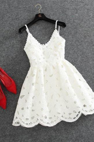 Cute homecoming dresses,white homecoming dresses,lace homecoming dress,short prom dress, lace prom dress,cocktail party dress,spaghetti straps homecoming dress