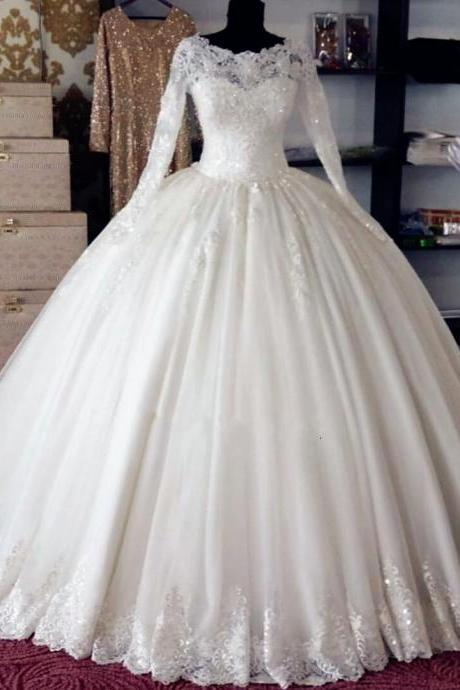Ball Gown Wedding Dresses,Appliques Wedding Gown,Princess Wedding Dresses,Long Sleeves Wedding Dresses