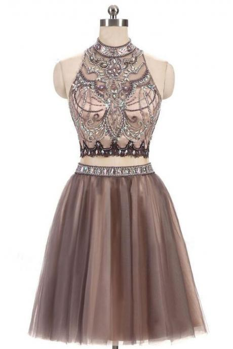 Gorgeous Homecoming Dresses,Beading Homecoming Dresses,Two Piece Prom Dress,Junior Homecoming Dresses,Short Homecoming Dresses,Tulle Prom Dress,Open Back Homecoming Dresses