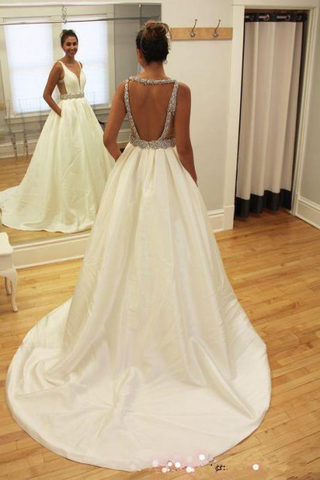 A-line Wedding Dresses,Beads Wedding Dresses,Sleeveless Wedding Dress,V-neck Wedding Gown With Sweep-Train,Ivory Wedding Dress