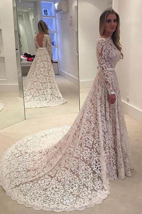 Elegant Wedding Dresses,A-line Bridal Dress,Lace Wedding Dresses,Backless Wedding Dress With Court Train,Long Sleeves Wedding Dresses