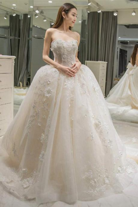 Sweetheart Wedding Dresses,Appliques Wedding Dress With Bow-knot, A-Line Wedding Dresses,Floor-Length Wedding Gown,Ball Gown Wedding Dress