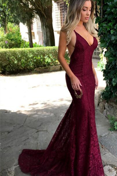 Sexy Prom Dresses,Lace Prom Dress,Burgundy Prom Dresses,2018 Prom Dresses,V Neck Prom Gown,Spaghetti Strap Prom Dresses,Long Evening Dress