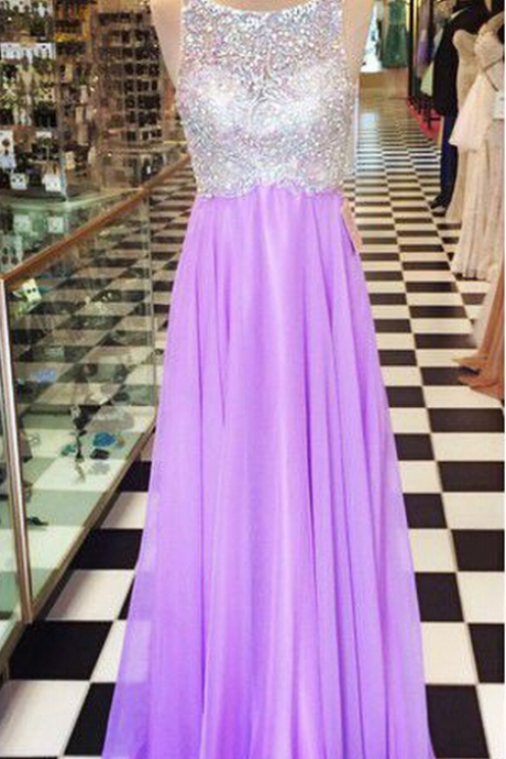 A-Line Prom Dresses,Beading Prom Gown,Open Back Prom Dresses,Chiffon Prom Dress,Long Prom Dresses,Sleeveless Prom Dress