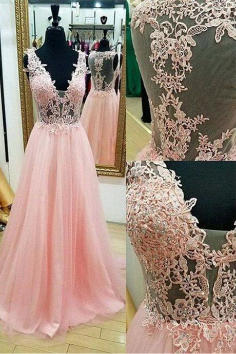Chic Prom Dress,Pink Prom Dresses,A-line Prom Gown,Floor-length Prom Dresses,Appliques Prom Dress,Long Prom Dress,Formal Evening Dress