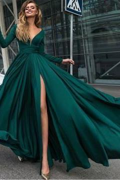 Sexy Prom Dress,Deep V Neck Prom Dresses,Long Sleeves Prom Dresses, 2018 Prom Gown,Leg Split Evening Gowns,Green Prom Dresses