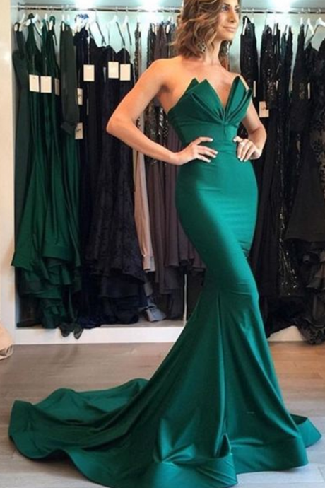 Sexy Evening Dress,Green Prom Dress,Mermaid Trumpet Prom Dress,Sweetheart Prom Dresses,Satin Prom Gown,Long Evening Dresses