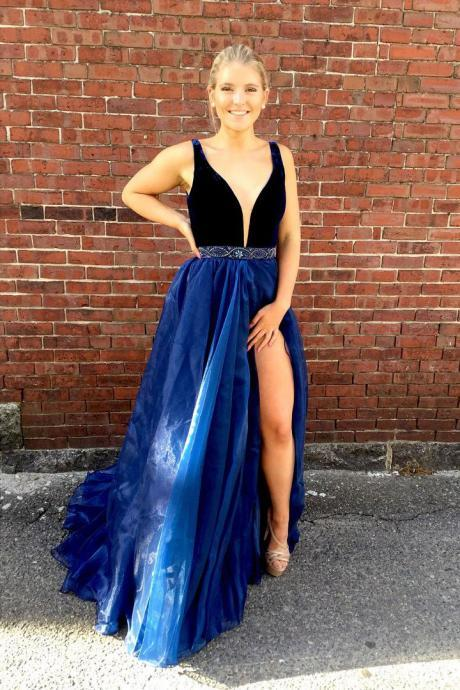 A-line Prom Dresses,Deep V-neck Prom Gown,Beaded Prom Dress,Royal Blue Prom Dresses with Split,A Line Prom Dress