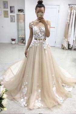 Champagne Prom Dresses,A Line Prom Dress,Cap Sleeve Prom Gown,Appliques Prom Dresses,Tulle Prom Dress,Long Evening Dress