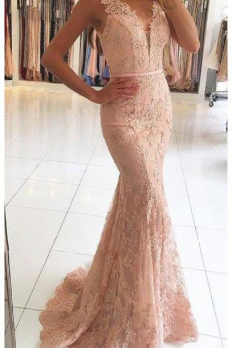 Elegant Prom Dress,Lace Prom Dress,Mermaid Prom Dress,Long Prom Dress,Sleeveless Evening Dress,V Neck Prom Gown PD059