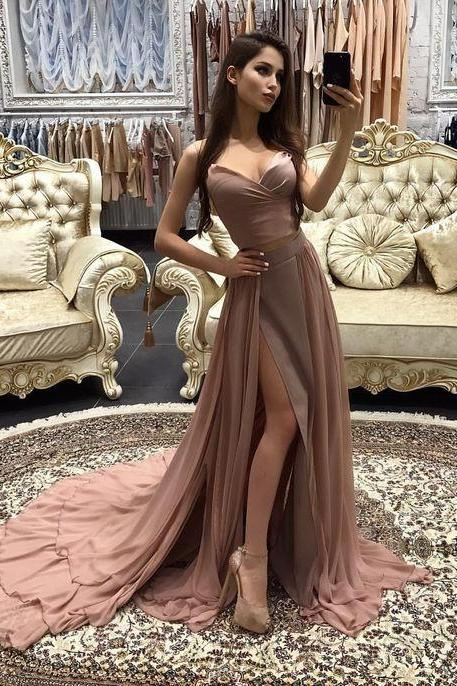 Sexy Prom Dress,Two Piece Prom Gown,Long Prom Dress,High Slit Formal Dress,A Line Prom Dresses,Prom Dress With Split