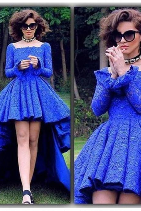 Cheap prom dresses,High Low Prom Dress,Lace Prom Dresses,Royal Blue Prom Gown,Long Sleeve Prom Dress,Formal Evening Gown