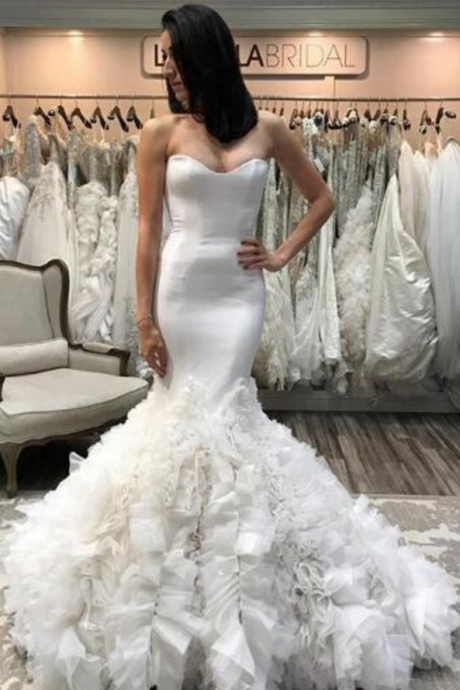 White Satin Sweetheart Floor Length Ruffled Accent Mermaid Wedding Dress