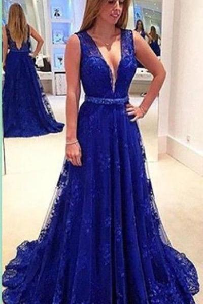 Royal Blue Prom Dress,Backless Prom Dress,Long Prom Dresses,Deep V-neck Prom Dress,Cheap Prom Dresses,Lace Prom Dress,Sleeveless Prom Gown