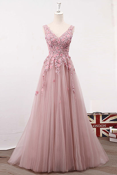 Pink Prom Dresses,Lace Prom Dress,A Line Prom Dresses,Long Prom Dress,Tulle Prom Dresses