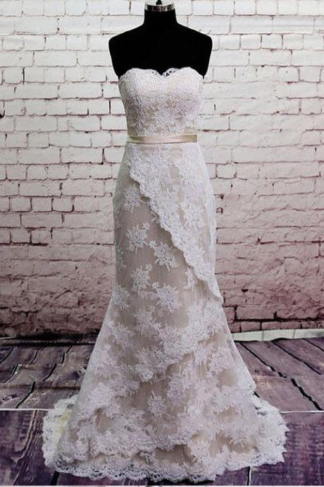 Mermaid Wedding Dresses,Sweetheart Wedding Dress,Lace Wedding Dresses,Modest Bridal Gowns,Layer Wedding Dresses