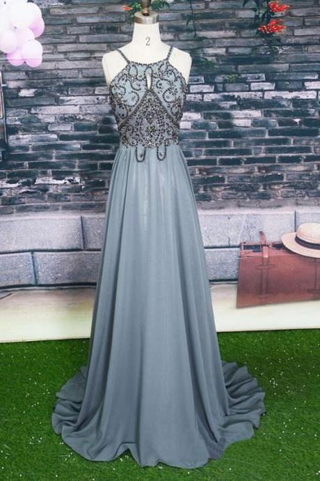 Halter Prom Dress,Grey Prom Dresses,Beaded Prom Dress,Long Prom Dresses,Chiffon Prom Dresses DS23