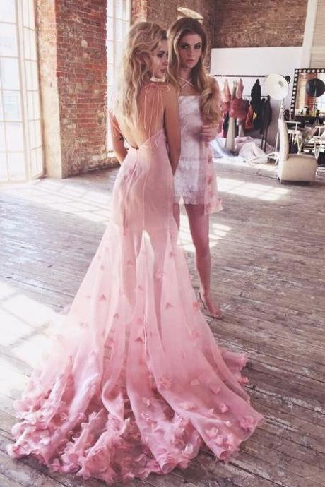 Charming Prom Gown,Pink Prom Dresses,Backless Evening Gowns,Flowers Prom Dresses,Tulle Evening Gowns DS30