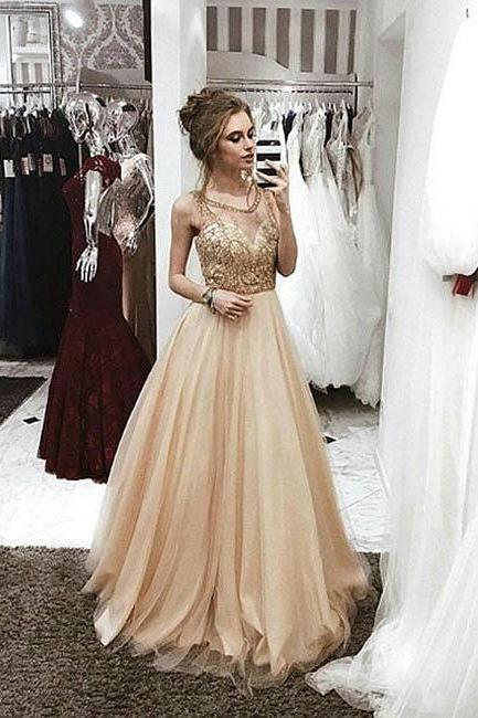 Sparkly Prom Dress,A-Line Prom Gown,Champagne Prom Dresses,Tulle Prom Dresses,Long Evening Dress with Beading DS33