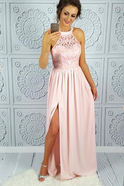 Pink Prom Dresses,Chiffon Prom Gown,Lace Prom Dress,Long Prom Dresses,Slit Prom Dresses,Pink Evening Dress DS60