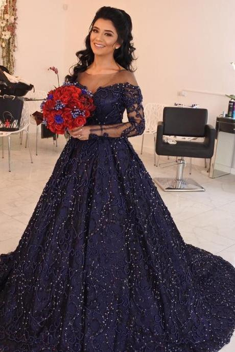 Dark Navy Prom Dress,Long Prom Dresses,Ball Gown Prom Dresses,Long Sleeves Evening Dress DS73