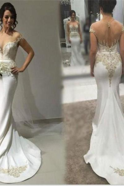 Sexy Bridal Dresses,Mermaid Wedding Dress,Sweetheart Wedding Gown,See-through Back Wedding Dresses,Formal Wedding Dresses WD56