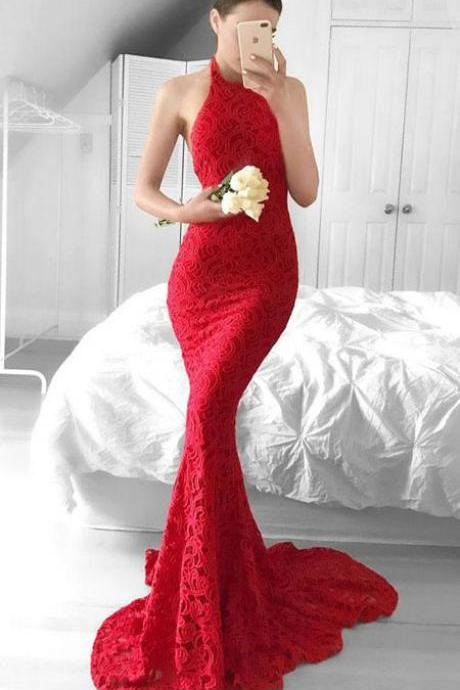 Glamorous Prom Dresses,Mermaid Prom Dress,Red Prom Dress,Lace Prom Dresses,Halter Evening Gown,Backless Prom Dress DS99