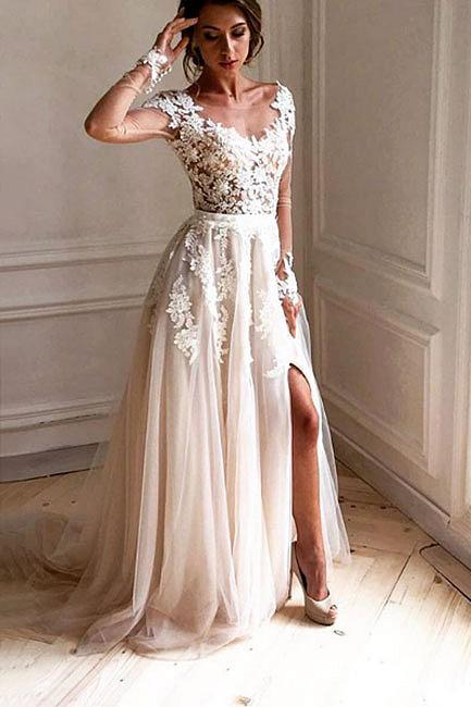 Stylish Prom Dresses,lace prom dresses,tulle prom dresses,long prom dress,long sleeve evening dress,Split Prom Dress DS100