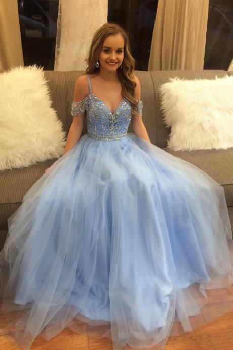Gorgeous Prom Dresses,Beads Prom Dress,Blue Prom Dresses,Long Prom Dress,Graduation Dresses,Puffy Prom Dresses DS103